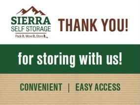 Thanks for considering Sierra Self Storage!